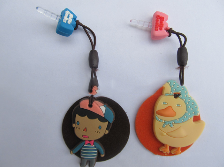 Manufacturers custom PVC mobile phone screen wipe dust plug phone pendant cartoon Epoxy soft phone s