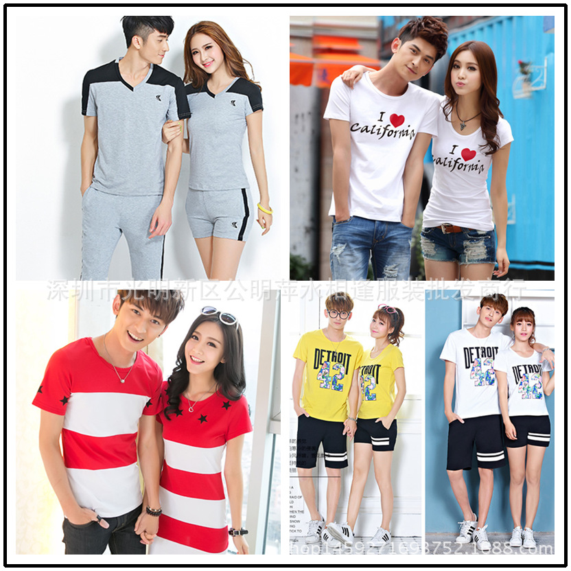 Áo thun   Short-sleeved T-shirt lovers summer new short-sleeved cotton suit lovers Korean men and w