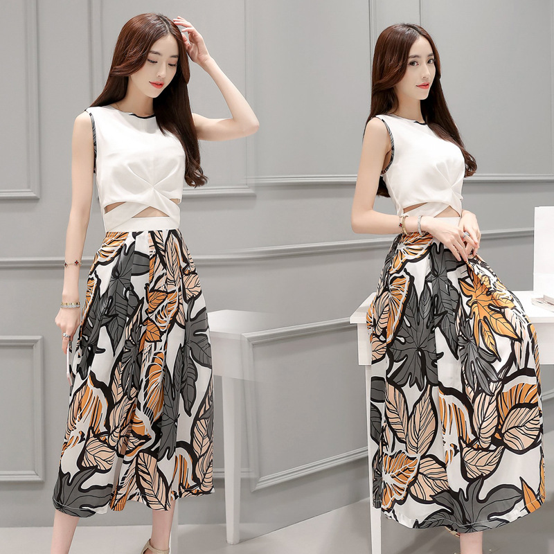 2016 summer new Korean version of the trend sleeveless satin print dress two-piece dress LY1653