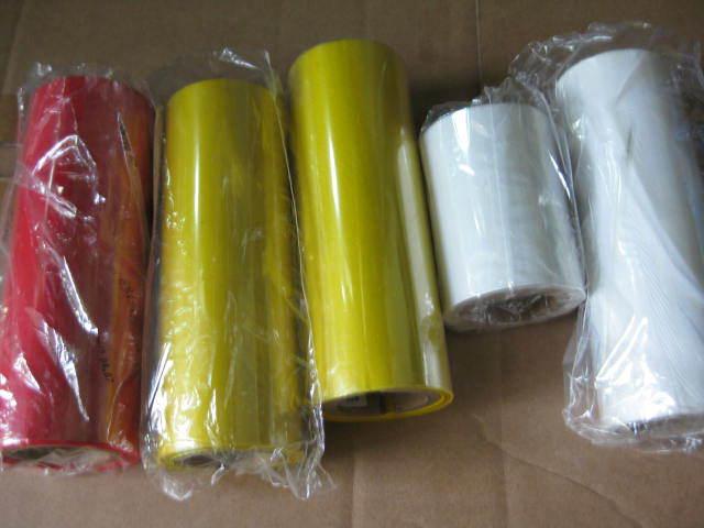 ITW ribbon, mixed base white ribbon, red ribbon, PET labels direct with white ribbon