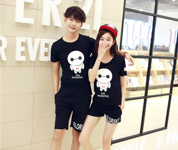Áo thun   2016 new Korean lovers summer short-sleeved white T-shirt suits men and women big yards s