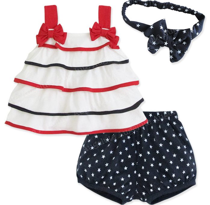 Quần   European style female baby cake skirt Camisole + star pants headband girls Parure 32021