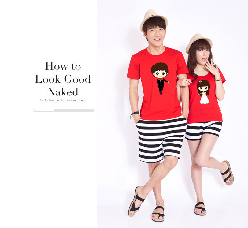Áo thun    Summer lovers short-sleeved t-shirt lovers Korean version of the cartoon couple sets of