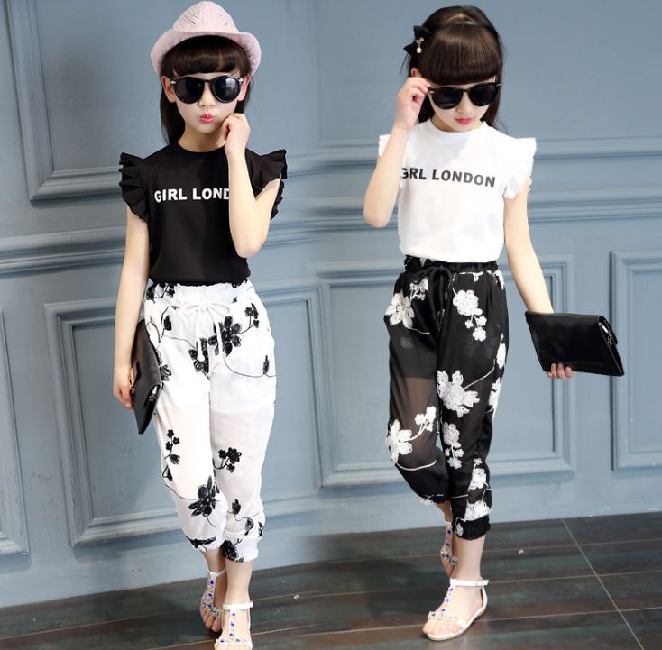 Quần   2016 Summer Korean children's clothing girls short-sleeved floral pants suits baby fashion