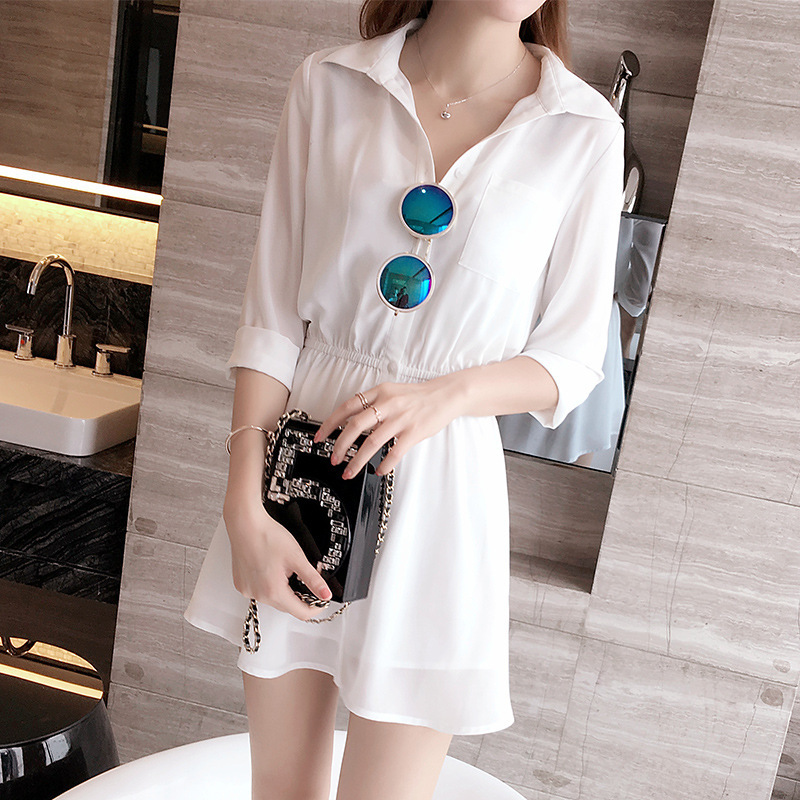Đầm   2016 Summer Korean version of the small fresh chiffon dress stitching sleeve white shirt butt