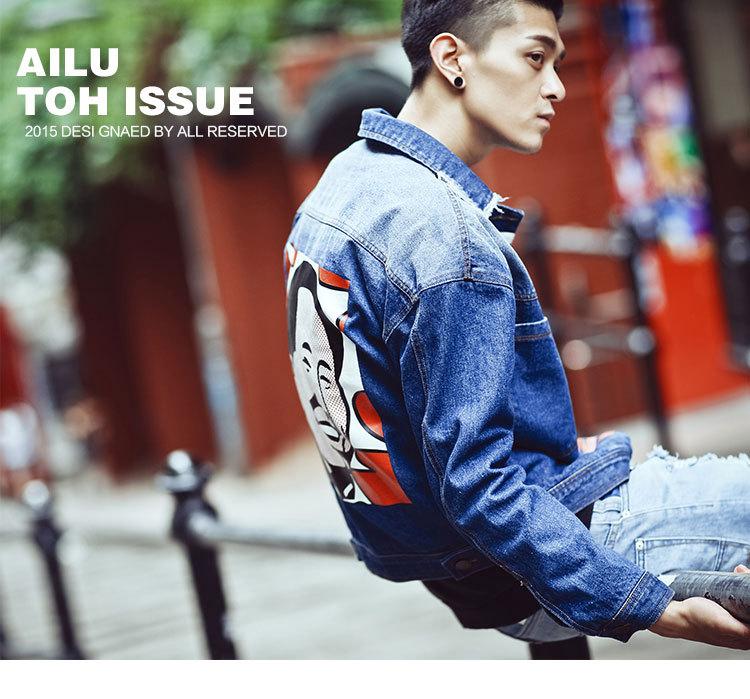 The new men's British style new fashion leisure printing cowboy clothes sports jacket wild range of