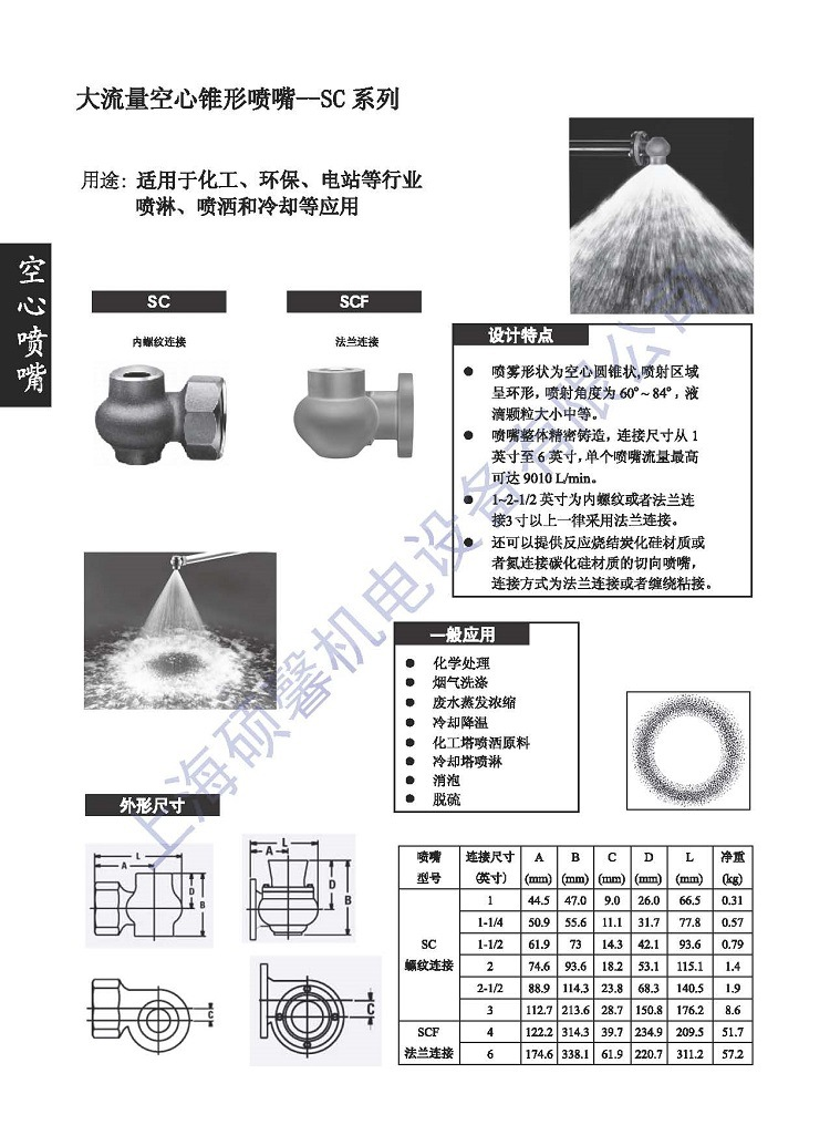 Chemical spray tower feed nozzle, the flow of atomizing nozzles, hollow cone nozzles Shanghai