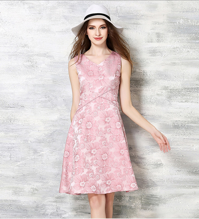 2016 summer fashion women jacquard sleeveless pink dress temperament was thin waist big swing skirt