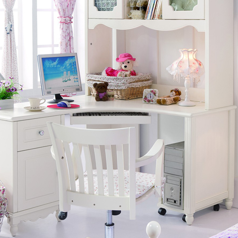 Máy tính để bàn - PC   Love ShangNi furniture Korean ivory white bookcase computer desk right book