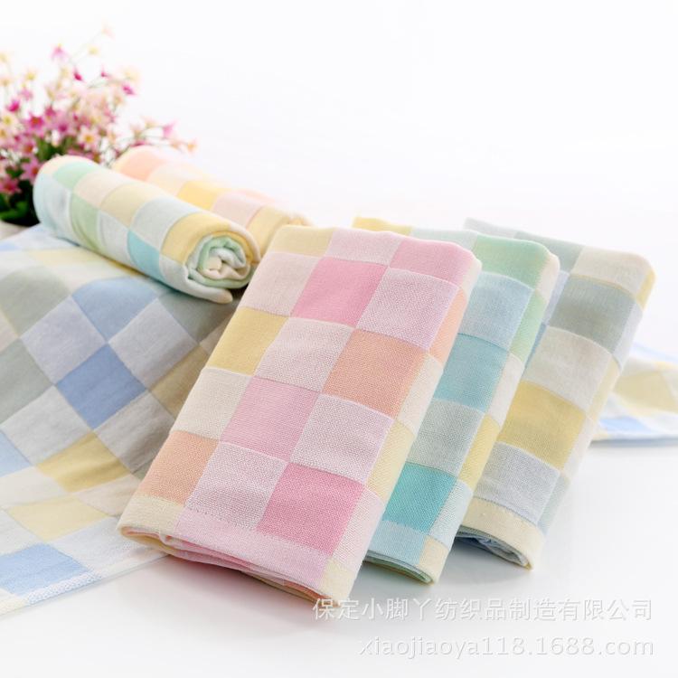 Vải  mộc Factory direct double gauze fabric plaid. Double gauze plaid cloth towel wholesale co