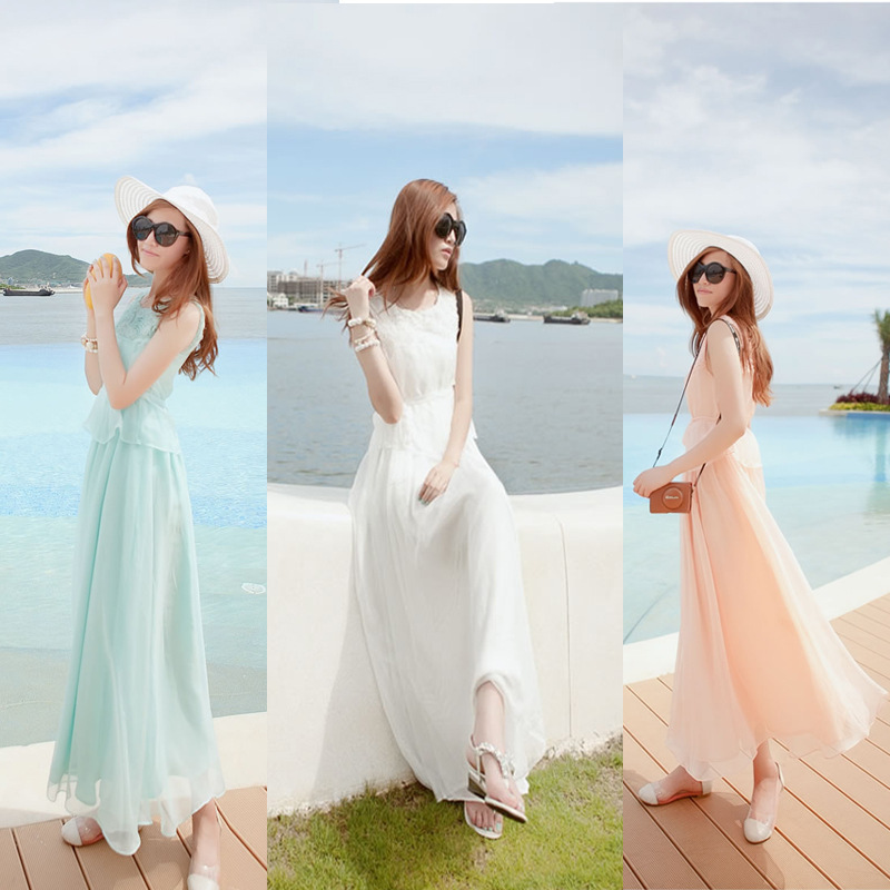 Đầm Women put on a large vest dress new bohemian seaside resort beach elegant chiffon dress sweet