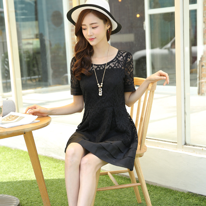 Đầm Liang Charm 2016 summer new Women Korean Slim solid color dress women chiffon short sleeve dress
