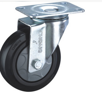 A 3 inch flat medium casters activities single ball bearing black synthetic rubber wheel caster TPR