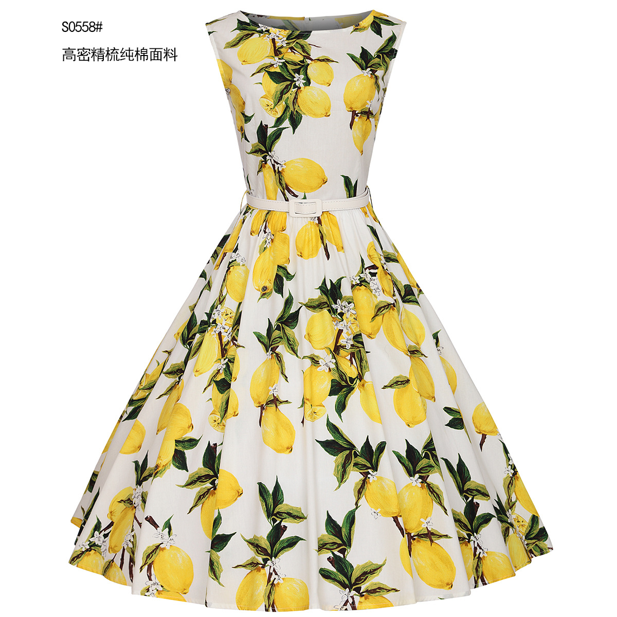 Đầm   Europe station new spring and summer cotton sleeveless collar lemon printing Slim big swing d