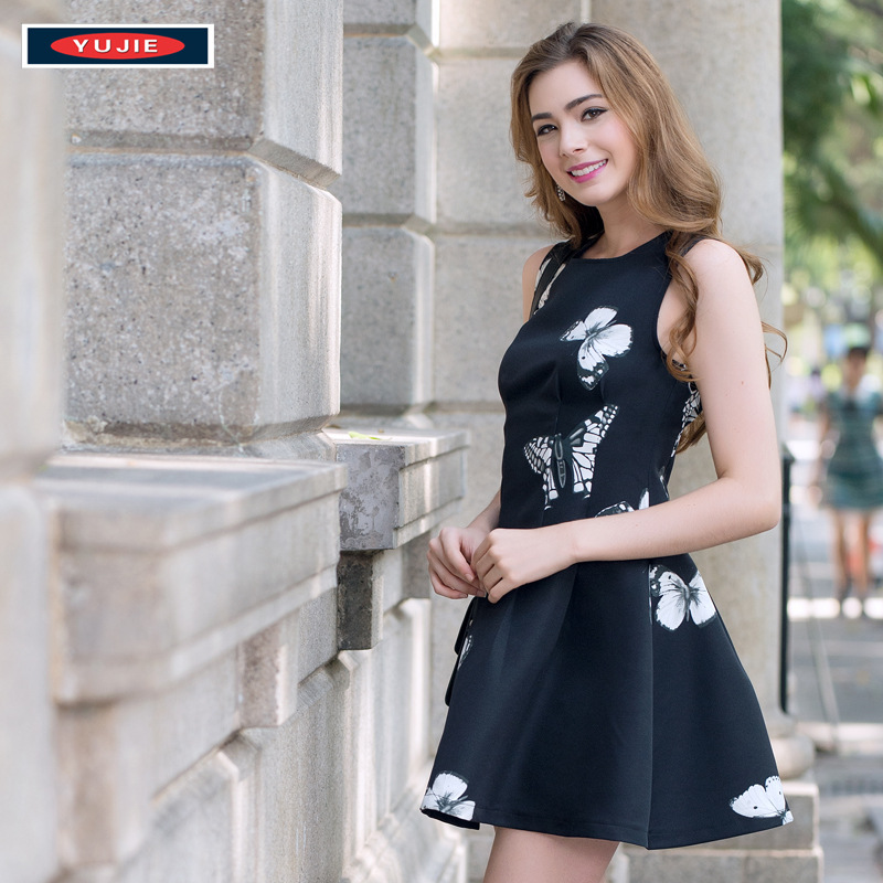 Đầm Europe station 2016 summer new foreign trade European and American fashion ladies print dress Sl
