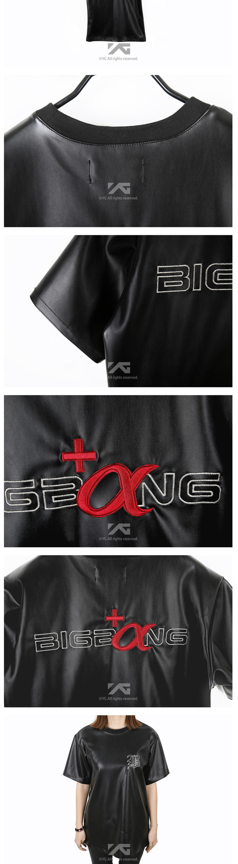 Simili tổng hợp YGESHOP BIGBANG + alpha synthetic leather short sleeve T-shirt