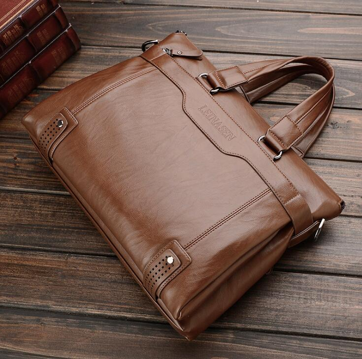 Leina Sen business men shoulder bag Mobile Messenger bag computer bag briefcase oil wax leather men