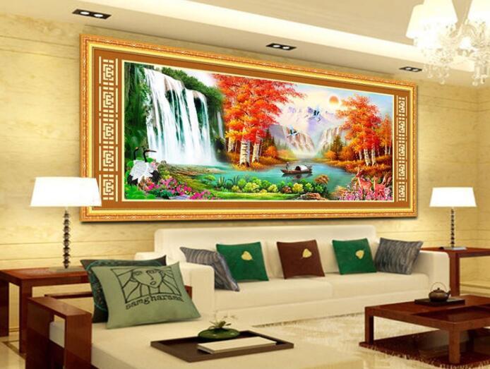 Tranh thêu chữ thập, phong cảnh sơn thủy, trang trí trong phòng khách đem lại vận may tài lộc