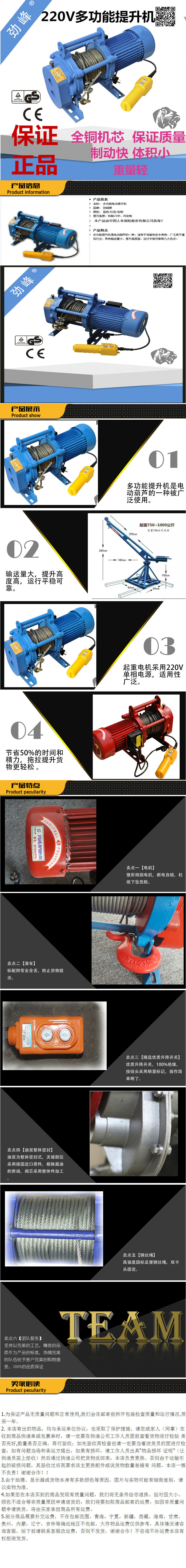[activity] wholesale 220V voltage 1000kg wire rope electric hoist small multi function electric hois
