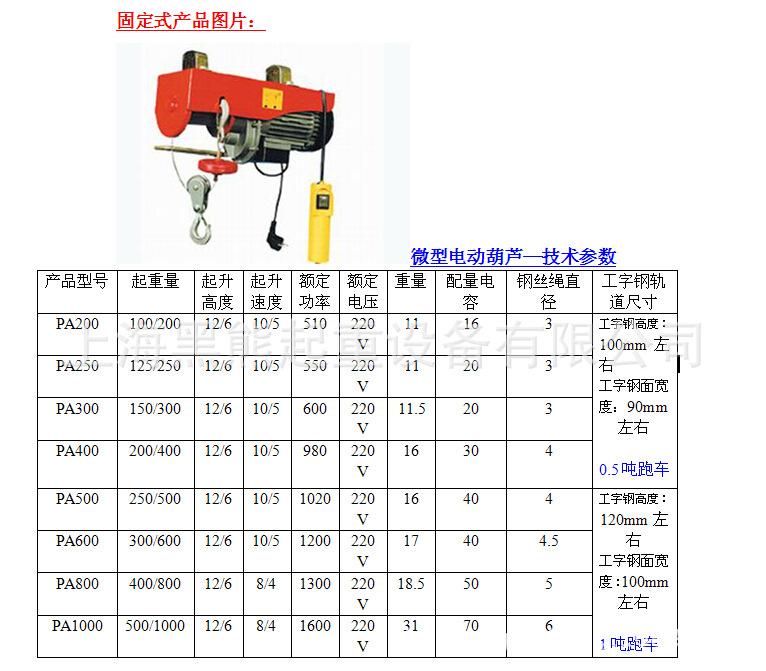 I bear integrated micro electric hoist single 220V small crane car with PA600 kg