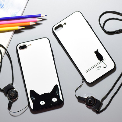 Creative cartoon cat iPhone7 7plus mobile phone back shell acrylic painted 6sp lovers all relief
