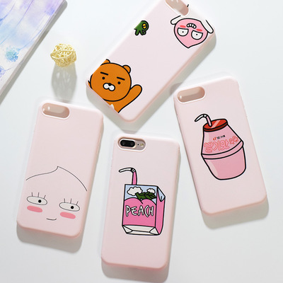 IPhone7 mobile phone shell 7plus Korea cartoon fart peach powder beverage Jun matte TPU inclusive fa