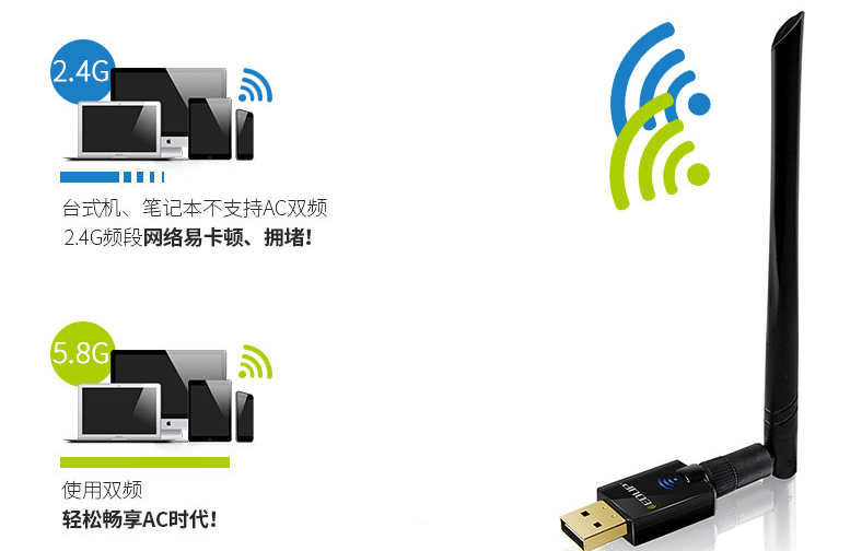 Card mạng 3G/4G  DUP EP - AC1611 double-frequency usb wireless network card 11 ac 600 m wifi receive