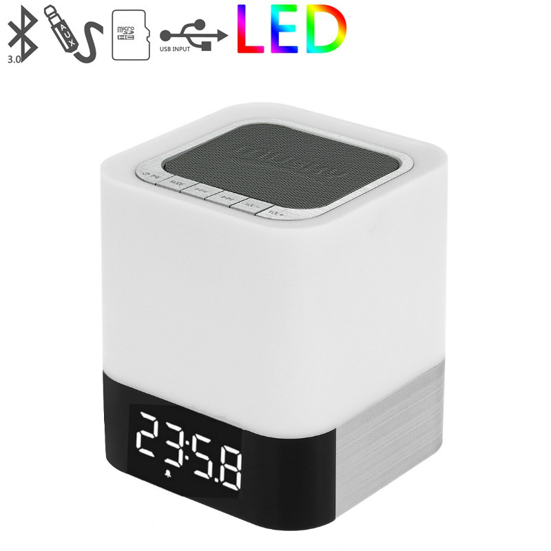 Thị trường âm h ưởng   DY28 wireless Bluetooth speaker smart touch led night light music alarm cloc