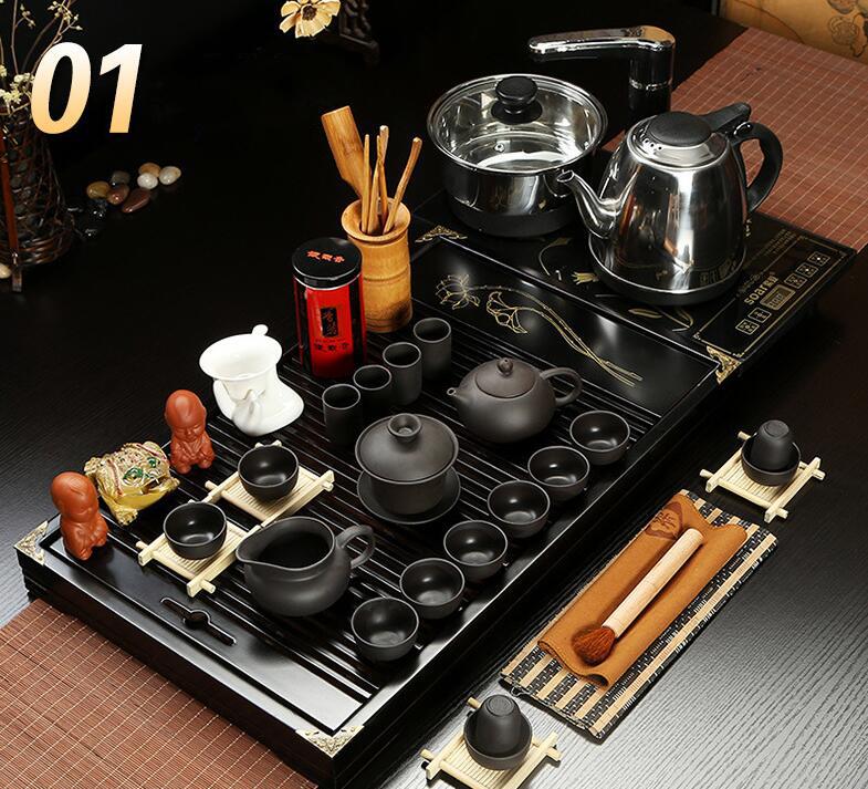 Bộ bàn trà đạo và các dụng cụ pha trà, có kèm bếp cảm ứng ZISHA