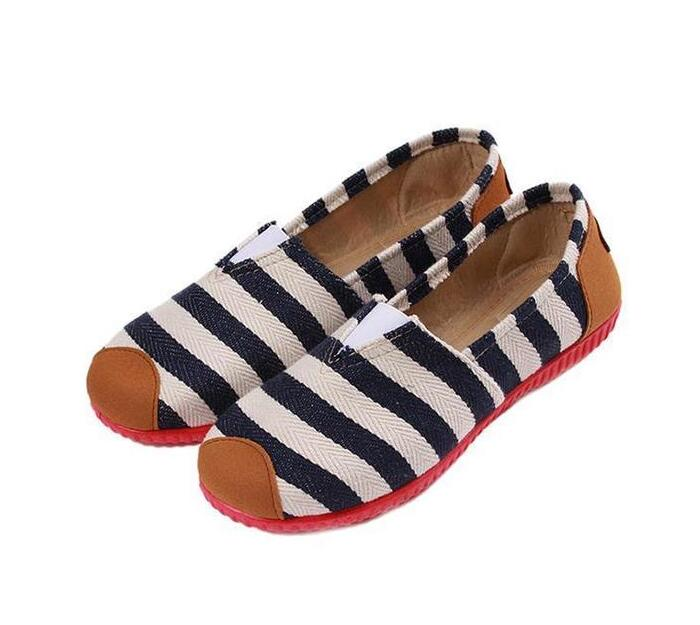 LALANG Fashion Canvas Shoes Striped Printed Casual Sneakers Blue