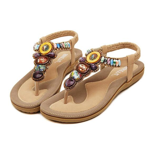 OASAP Boho Rhinestones Embellishment Y-Strap Thong Sandals For Women(Khaki)
