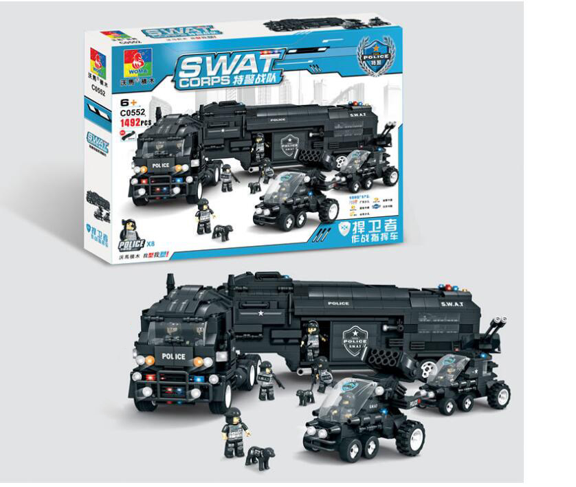 SWAT team okma children's blocks assembled initiation toy Falcon Road police Eagle defenders minifi
