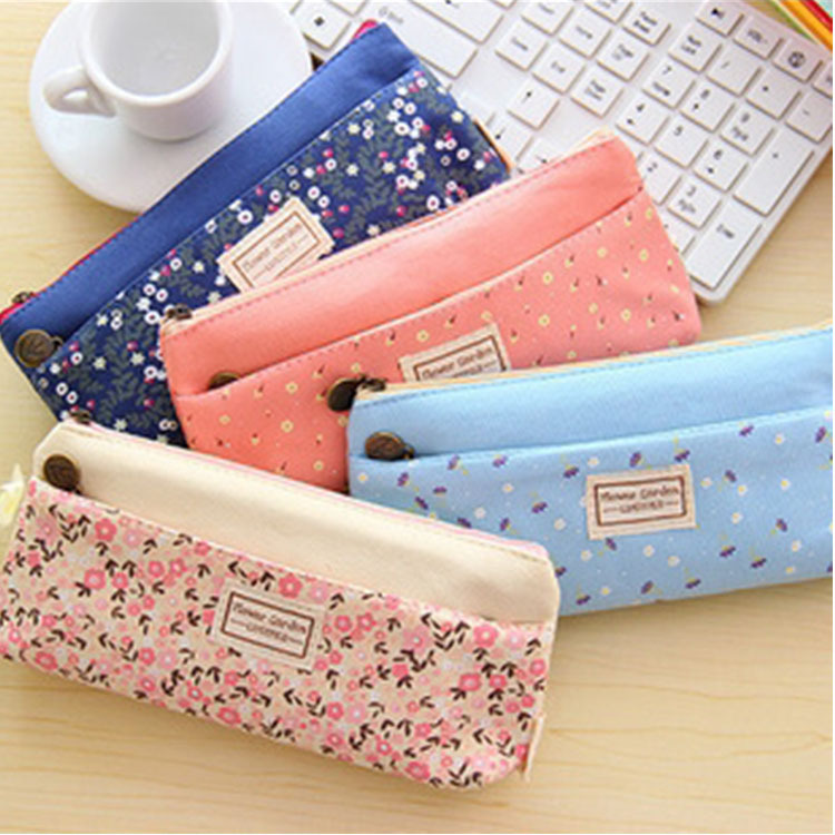 0272 Korea stationery fresh garden small floral nectar double zipper pencil case bag bag wholesale