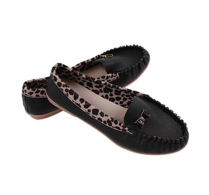 LALANG Leopard Stitching Casual Shoes Korean Soft Leather Peas Shoes Black   LALANG Leopard Stitchin