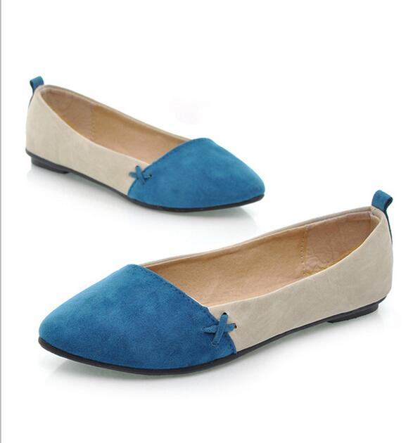 Cyber New Women Girl Shoes Ballet Low Heels Flat Loafers Casual Comfort (Blue)