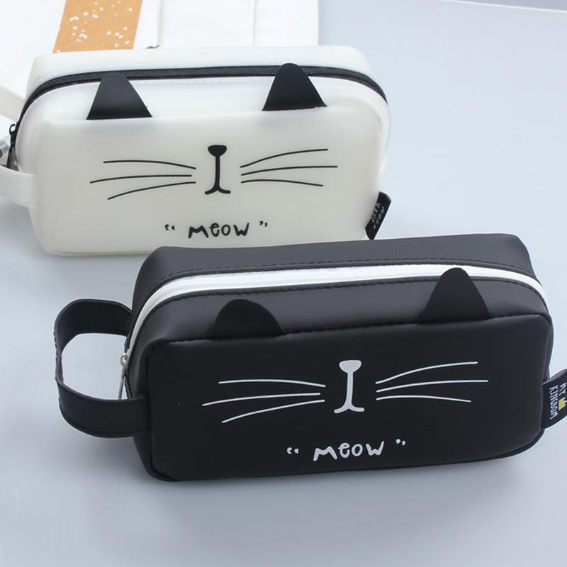 Creative simple pencil box of large capacity cat Kingdom students pen Korean girl stationery station