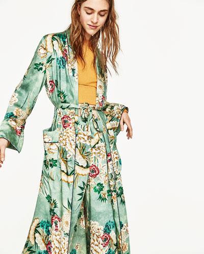 Printed kimono sleeve jacket green