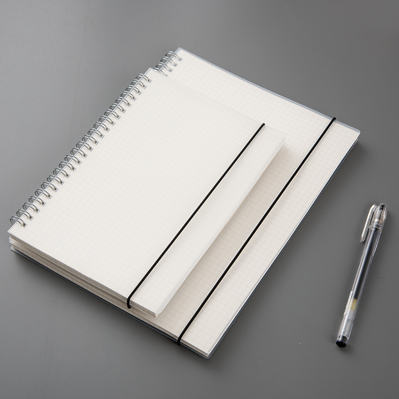 Simple rollover coils of the boxes in this book B5 lattice grid line hand blank notebook stationery.