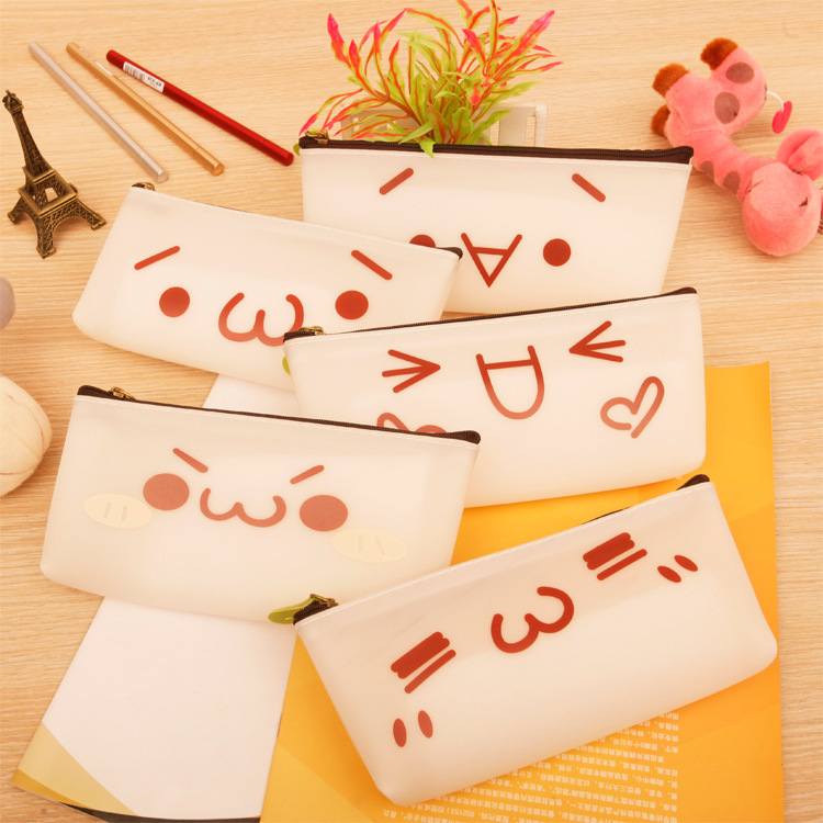 Korean students and cute adorable face simple pen Yan Jun rough text cartoon stationery pencil box