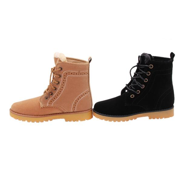 HengSong Lace Up Snow Boots Lovers Boot Black