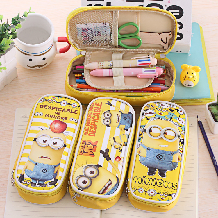 A bright little yellow people pen pencil bag creative stationery bags simple Korean men and women st