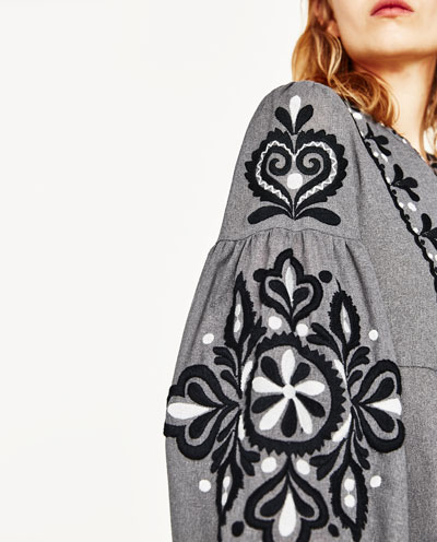 Embroidered dress grey