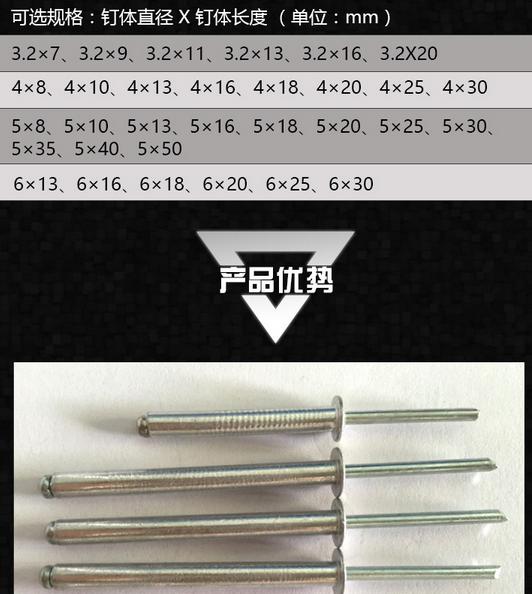 Đinh   Rui Long boxed national standard pull rivets open type pull nail core pulling rivets decorat