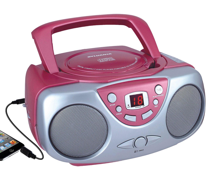 Máy Radio   Nên srcd243 Portable CD Player của AM / FM radio, máy không có chức năng thu (Pink)