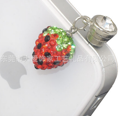 Modern style diamond phone dust plug intelligent zinc alloy dust plug