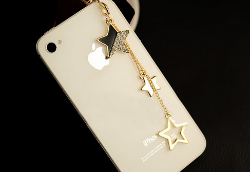Nút cắm chống bụi  Korean version of the explosion five - pointed chain chain pendant mobile phone
