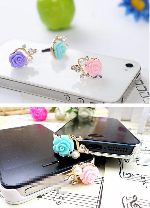 Nút cắm chống bụi  Factory direct sales / resin rose flowers pearl diamond phone dust plug / headse