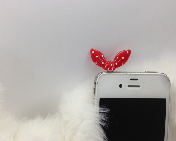 Nút cắm chống bụi  3.5mm universal cute rabbit ears water jade little bit of pocket modeling phone