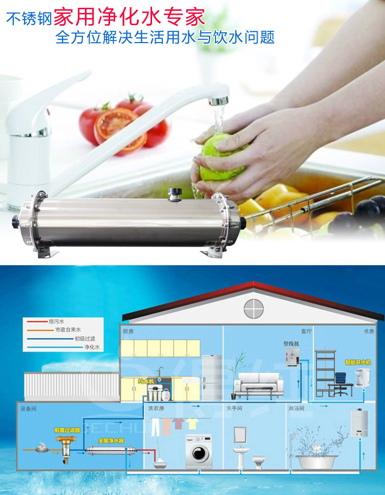 Direct sales of stainless steel water purifier kitchen pipe central filter ultrafiltration water pur