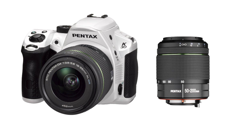 Máy ảnh kỹ thuật số  K-30 camera máy ảnh và máy 50-200mm WR trắng (16MP, cảm biến CMOS APS-C) 3 inc